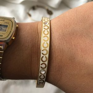 Coach Gold and White Bangle Bracelet